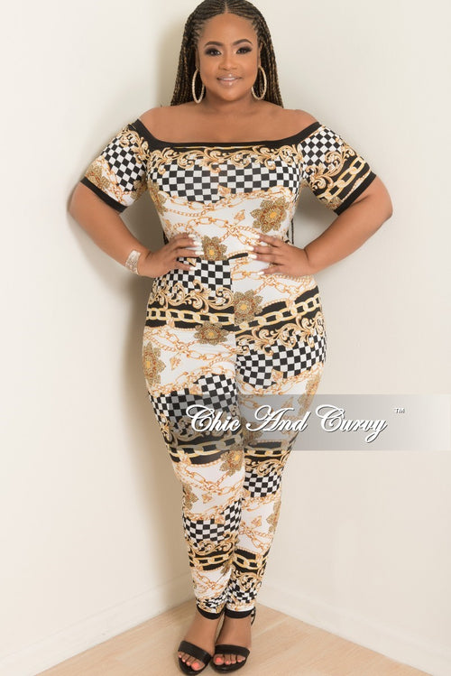 513b75008ef Final Sale Plus Size Checker Printed Jumpsuit in Black White and Gold