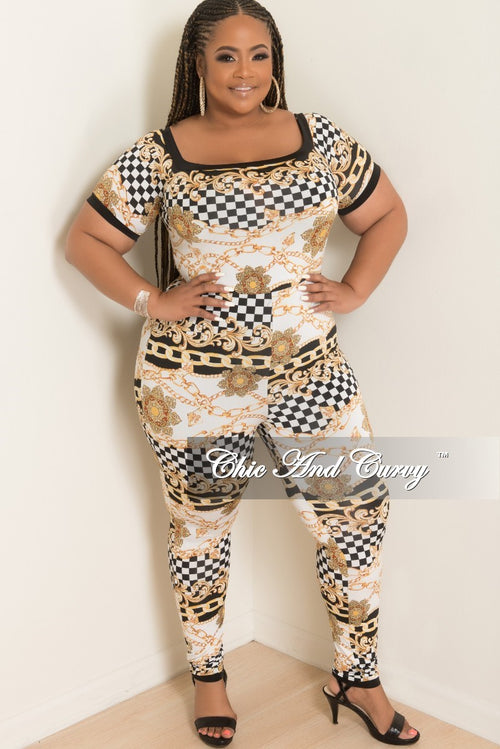 Final Sale Plus Size Checker Printed Jumpsuit in Black White and Gold