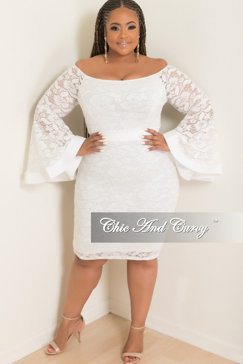 Final Sale Plus Size Off the Shoulder Bell Sleeve Lace Dress with Back Bottom Slit in White