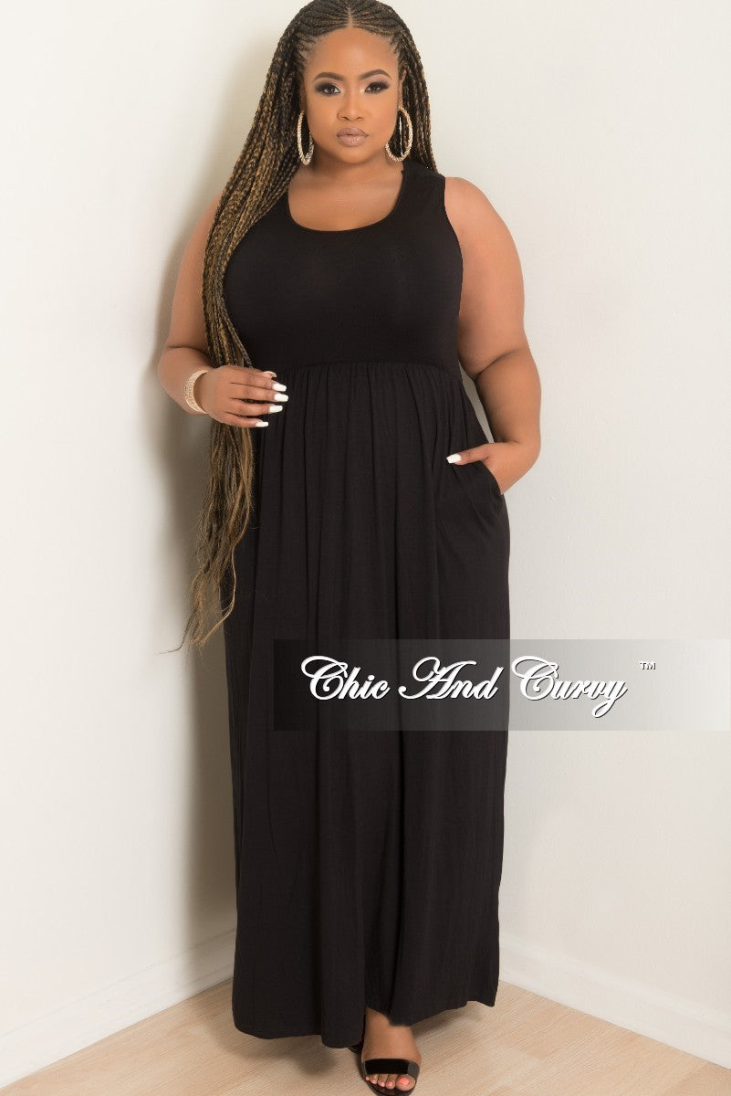 e77ea2a92b3 New Plus Size Sleeveless Long Pocket Dress in Black – Chic And Curvy