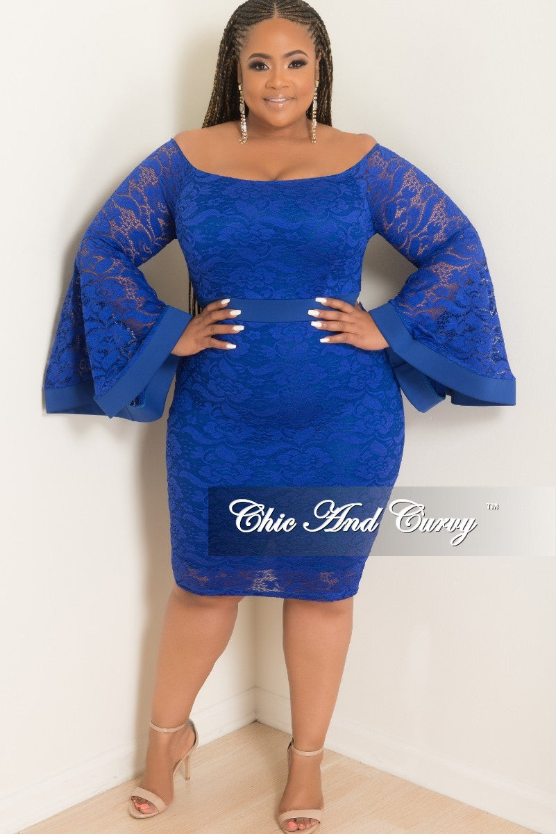 Final Sale Plus Size Off the Shoulder Bell Sleeve Lace Dress with Back Bottom Slit in Royal Blue
