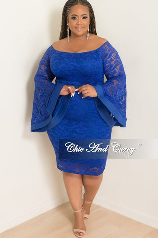 6d4a3f58436f4 Final Sale Plus Size Off the Shoulder Bell Sleeve Lace Dress with Back  Bottom Slit in Royal Blue