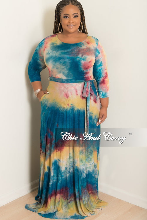 Final Sale Plus Size Long Pocket Dress with 3/4 Sleeves and attached Tie in Multi Color Print