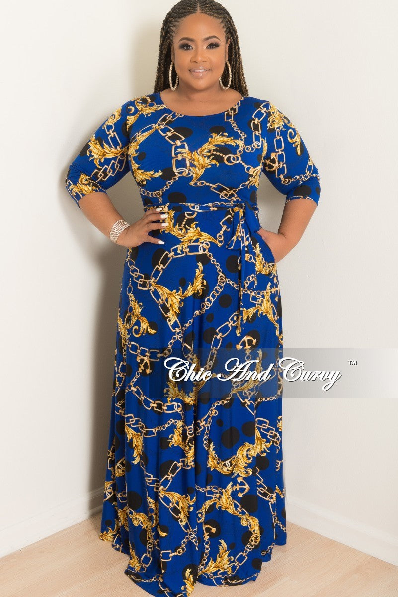 Final Sale Plus Size Polka Dot Chain Printed Long Pocket Dress with 3/4 Sleeves and Attached Tie in Royal Blue Black and Yellow