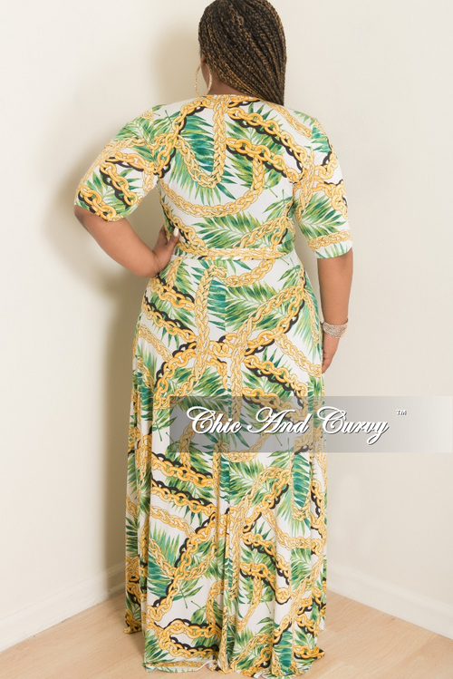 Final Sale Plus Size Wrap Dress with 3/4 Sleeves and Tie in White Green Black and Yellow Leaf Chain Print