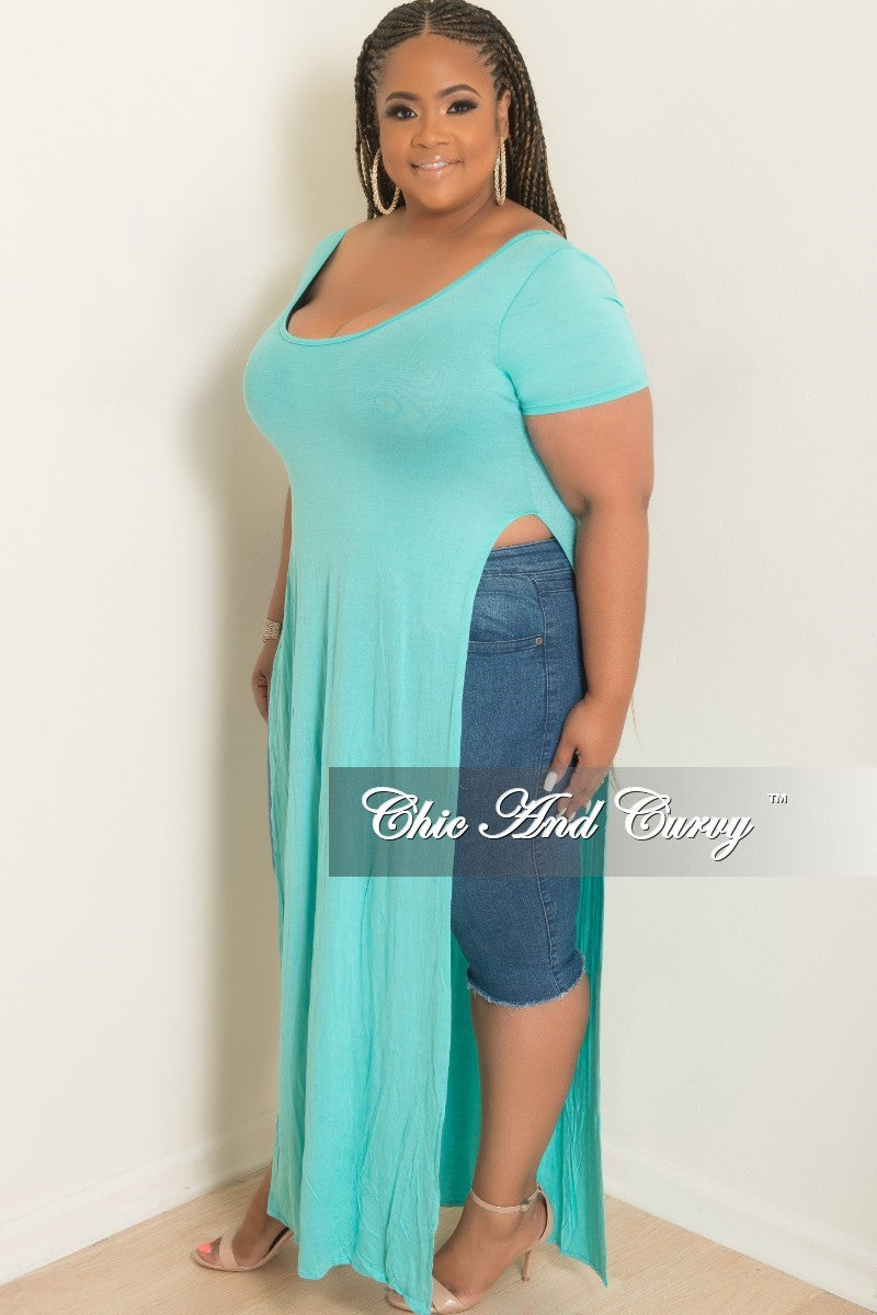 Final Sale Plus Size T-Shirt Dress in Mint