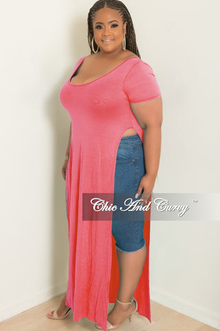 Final Sale Plus Size Romper w/ Lace Sleeves in Coral