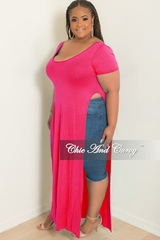 Final Sale Plus Size Maxi Skirt in Neon Pink Floral Print