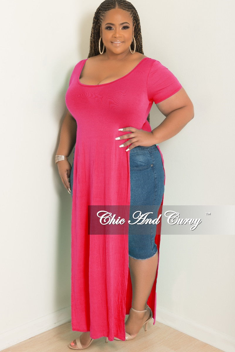 Final Sale Plus Size T Shirt Dress In Magenta Chic And Curvy
