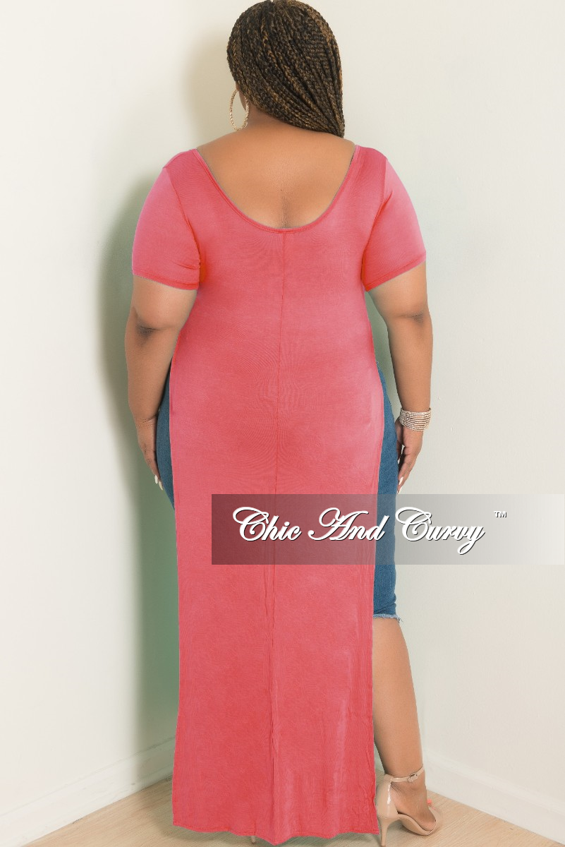 Final Sale Plus Size T-Shirt Dress in Coral