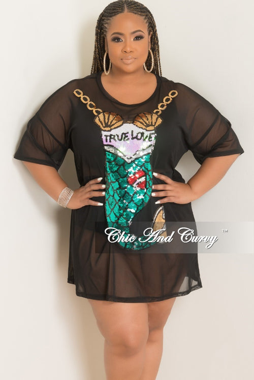 Final Sale Plus Size Sequin Mermaid Mesh Top in Black Multi Color