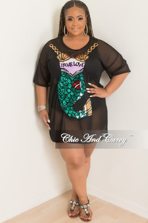 New Plus Size Sequin Mermaid Mesh Top in Black Multi Color