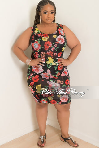 New Plus Chain Print Bodysuit in Red Floral Print