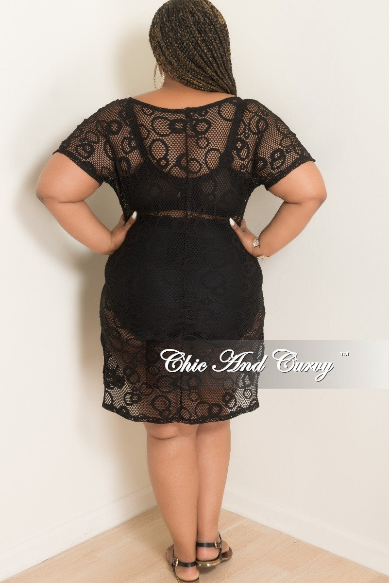 Final Sale Plus Size Fish Net Dress with Attached Tie in Black