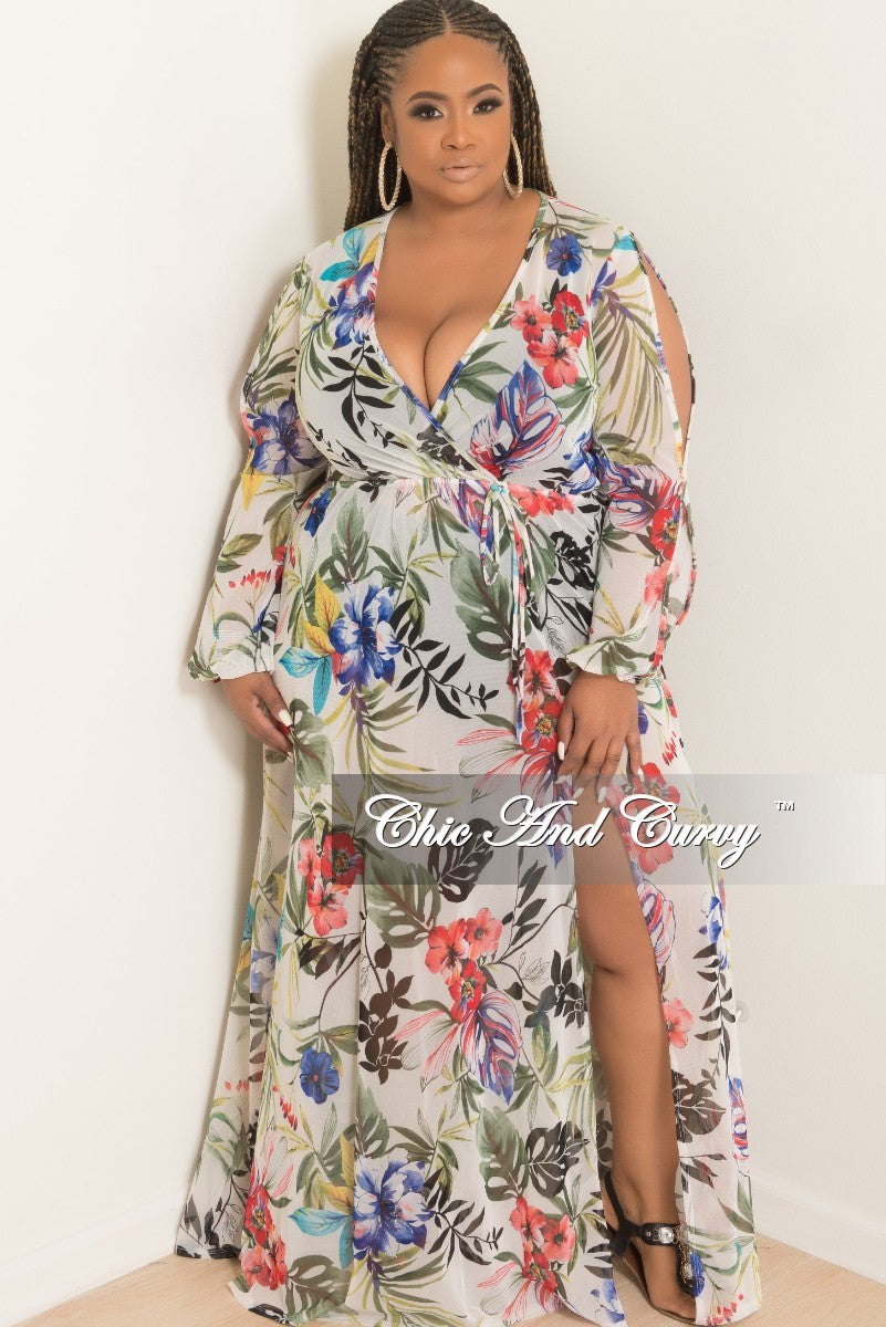 Final Sale Long Sleeve Mesh Cover Up/Dress with Front Slit in Multicolor Floral Print