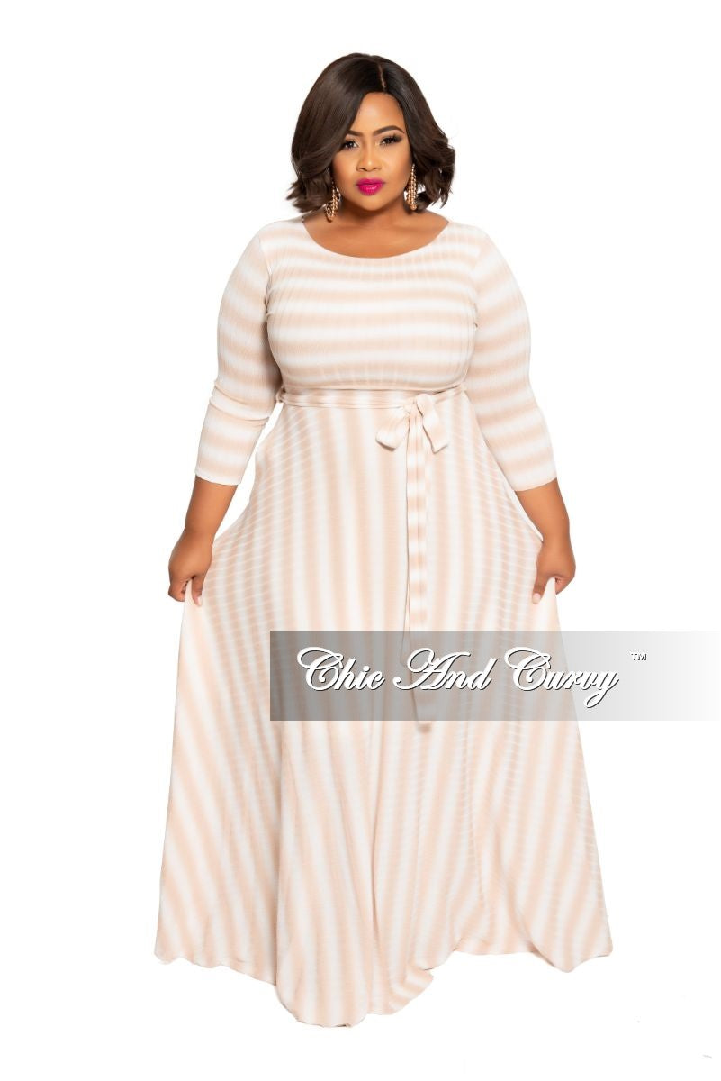 Final Plus Size Ribbed 3/4 Sleeve Pocket Maxi with Tie in Tan and White Stripe Print