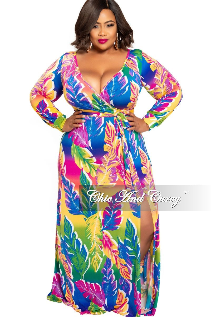 New Plus Size Faux Wrap Dress Maxi with Attached Tie in Multi Color Leaf Tropical Print