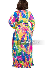 New Plus Size Faux Wrap Maxi with Attached Tie in Multi Color Leaf Print