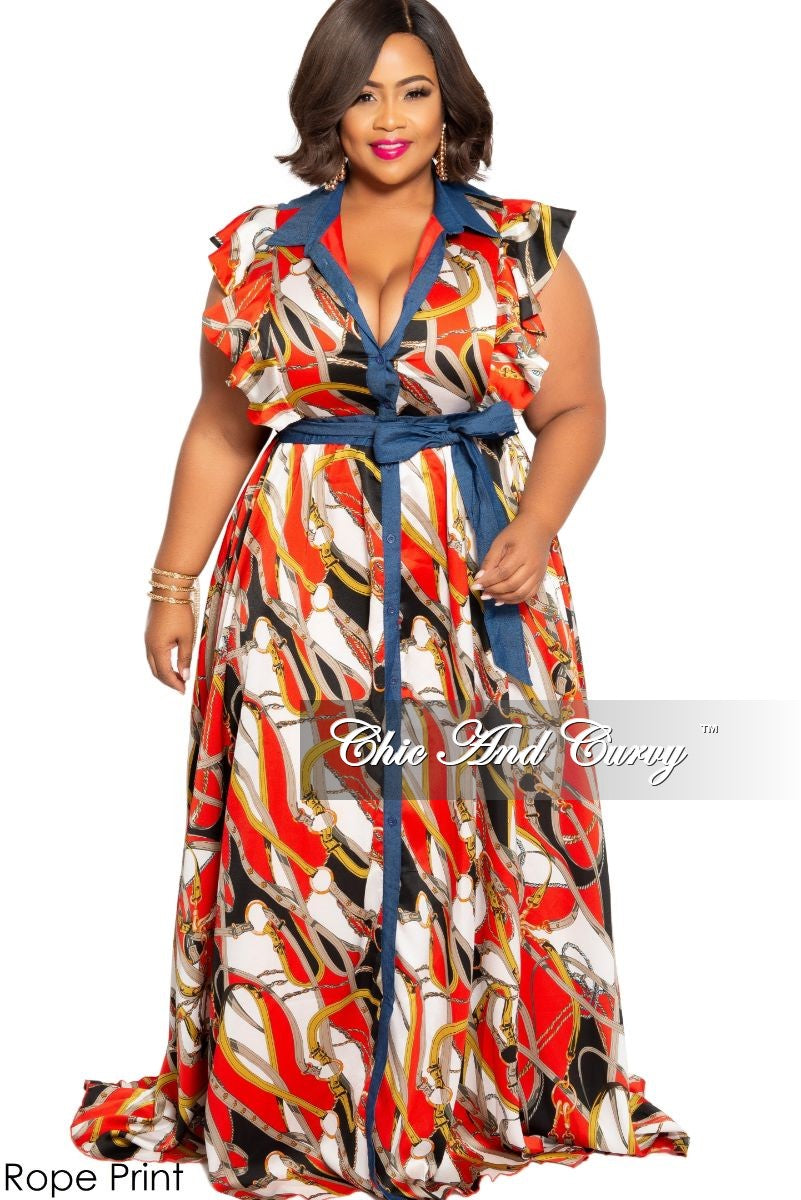 New Plus Size Button-Up Maxi Dress with Ruffled Cap Sleeves and Attached Tie in Red, Black, White and Puce Rope Print or Burgundy, Navy, White and Green Chain Print with Denim Trim