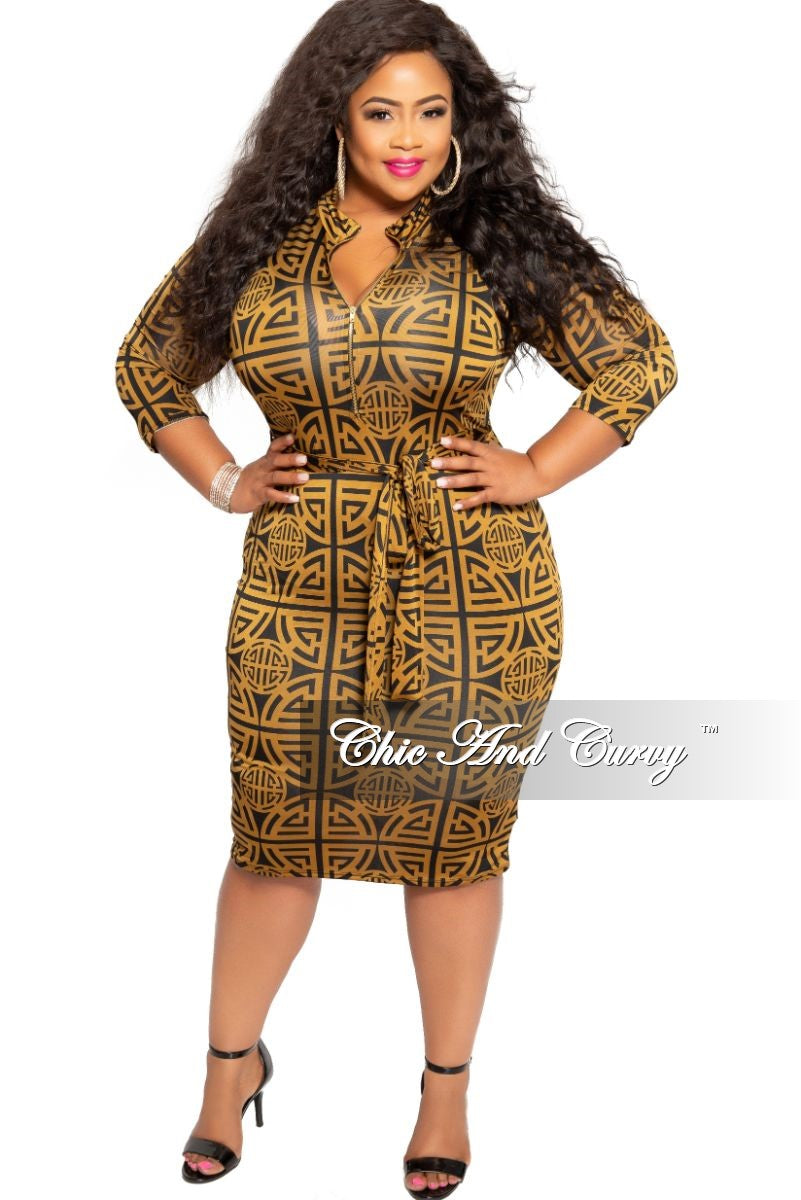 New Plus Size Zip-Up BodyCon Dress with Attached Tie in Mocha and Brown Design Print