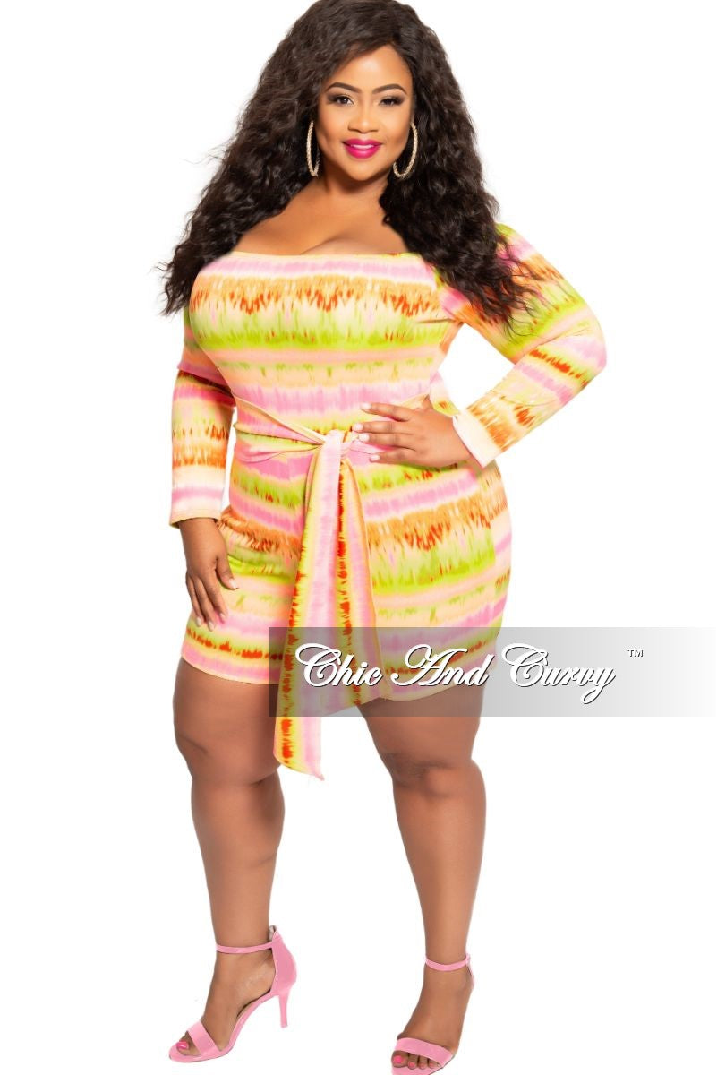 Final Sale Plus Size Off the Shoulder Romper with Attached Tie in Neon Pink Green Orange and Red Print