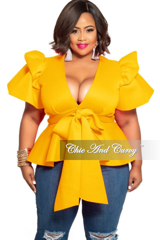 New Plus Size Peplum Top with Ruffle Sleeves in Mustard
