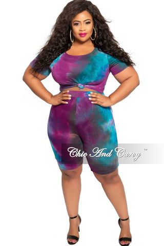 Final Sale Plus Size 2-Piece Ribbed Short Sleeve Crop Top and Palazzo Pants Set in Navy Pink Tan Ivory and Yellow Stripe Print