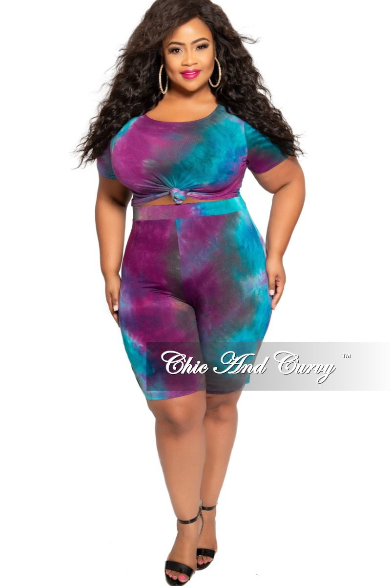 Final Sale Plus Size 2-Piece Knotted Crop Top and Short Set in Purple and Turquoise Tie Dye Print