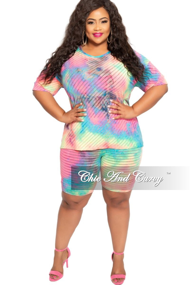 Final Sale Plus Size 2-Piece Mesh Top and Short Set in Multi Color Tie Dye Print