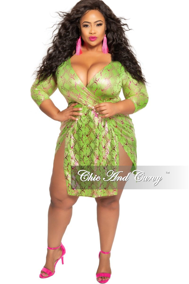 Final Sale Plus Size Faux Wrap BodySuit Dress with Double Slits in Green  and Fuchsia Snake Print
