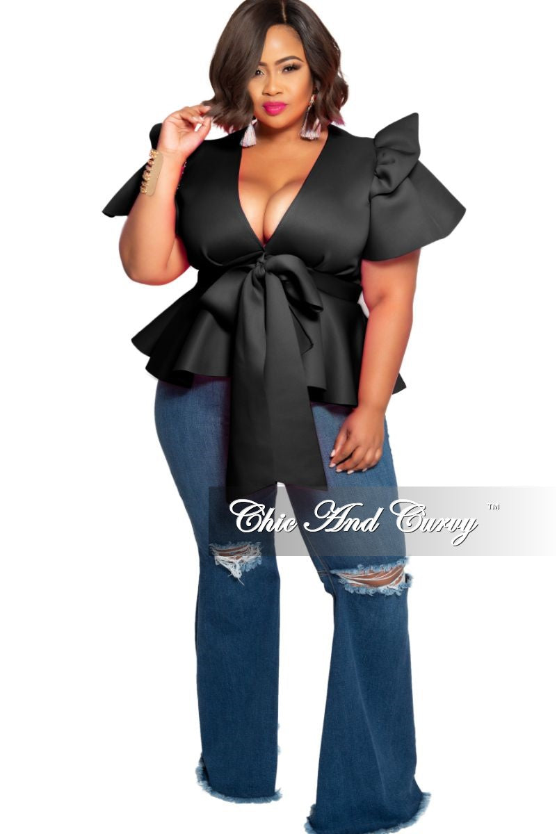 New Plus Size Peplum Top with Front Tie and Ruffle Sleeves in Black