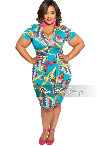 New Plus Size BodyCon Dress with Front Tie and Cut-Out in Neon Pink Purple Yellow and Teal Stripe Print