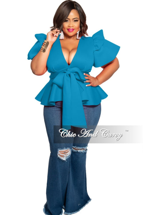 New Plus Size Peplum Top with Front Tie and Ruffle Sleeves in Turquoise