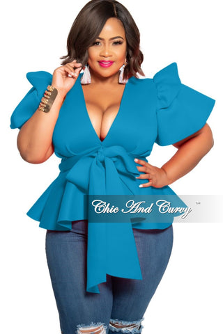 Final Sale Plus Size Sleeveless BodyCon Dress with Ruffle Bottom in Royal Blue