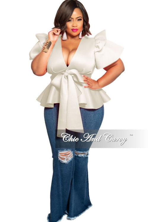 Final Sale Plus Size Peplum Top with Front Tie and Ruffle Sleeves in Ivory