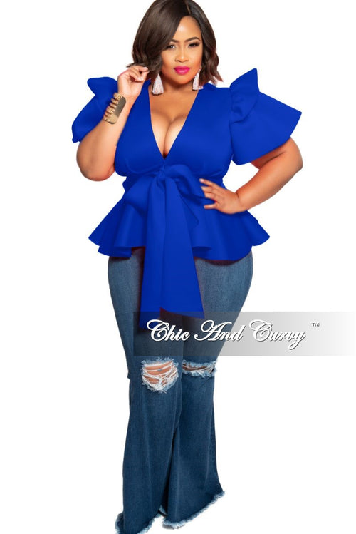 New Plus Size Peplum Top with Front Tie and Ruffle Sleeves in Royal Blue