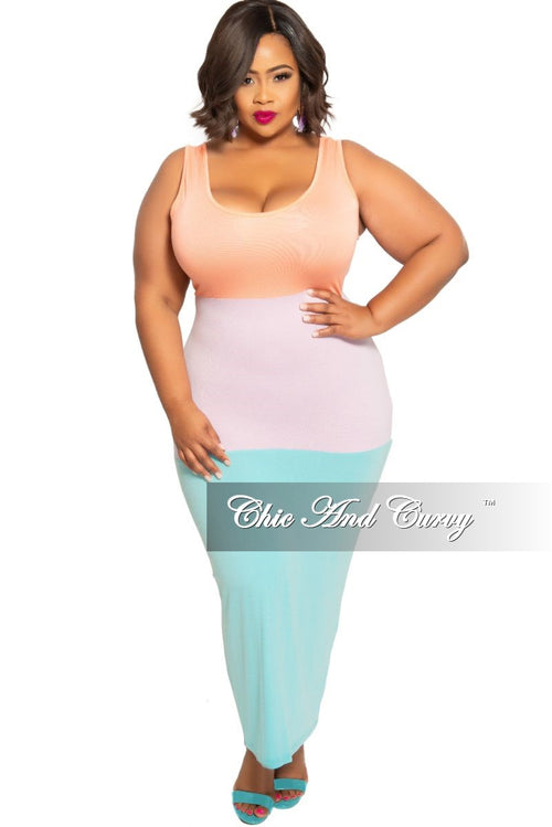New Plus Size Sleeveless BodyCon Pencil Dress with Back Slit in Coral Light Purple and Aqua