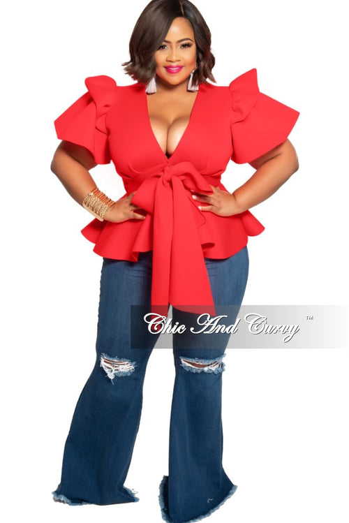 New Plus Size Peplum Top with Front Tie and Ruffle Sleeves in Red