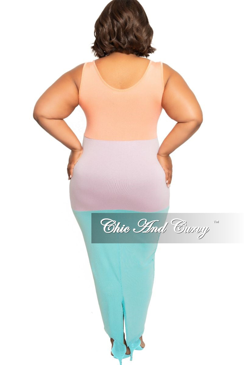 Final Sale Plus Size Sleeveless BodyCon Pencil Dress with Back Slit in Coral Light Purple and Aqua