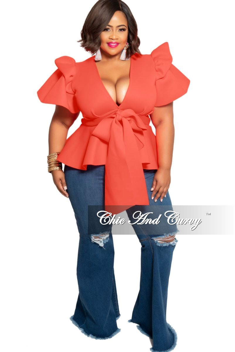 New Plus Size Peplum Top with Front Tie and Ruffle Sleeves in Coral