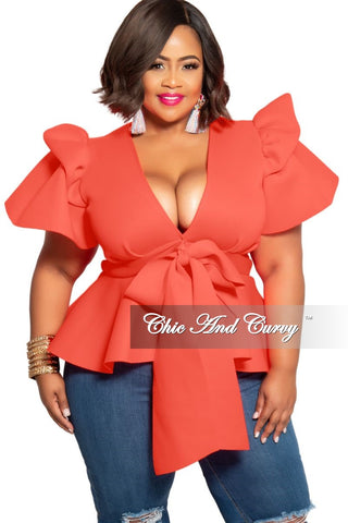 Final Sale Plus Size Faux Wrap Top in Ivory