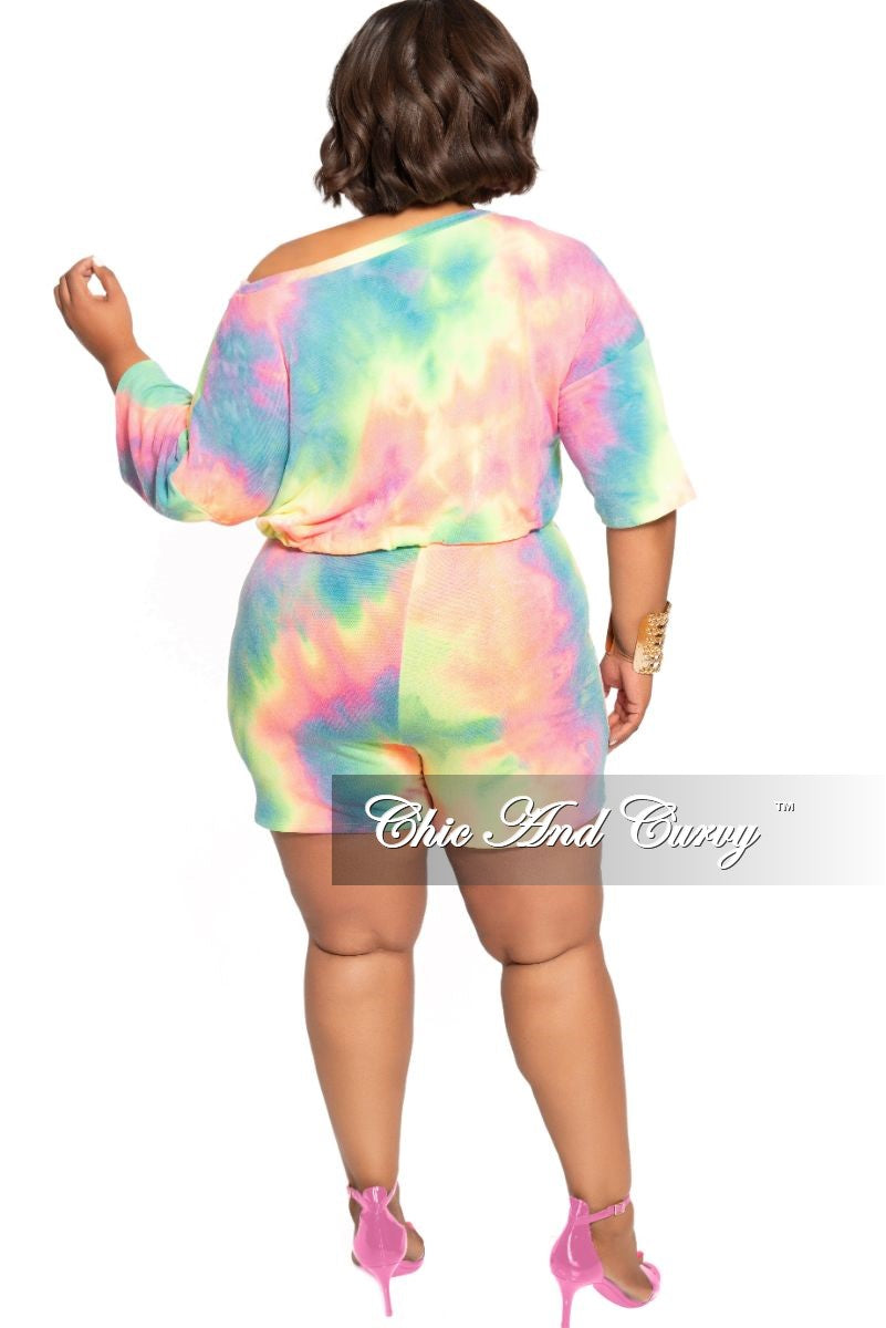 Final Sale Plus Size 2-Piece Drawstring Crop Top and Short Set in Multi Color Tie Dye Print