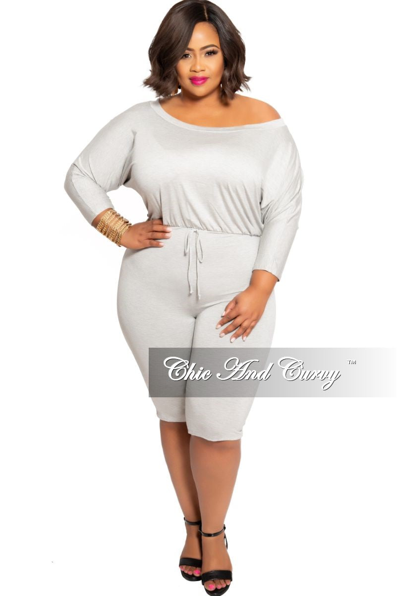 Final Sale Plus Size Off the Shoulder Romper with Drawstring in Grey
