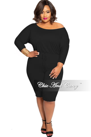 Final Sale Plus Size Short Sleeve Romper in White and Black News Print Design