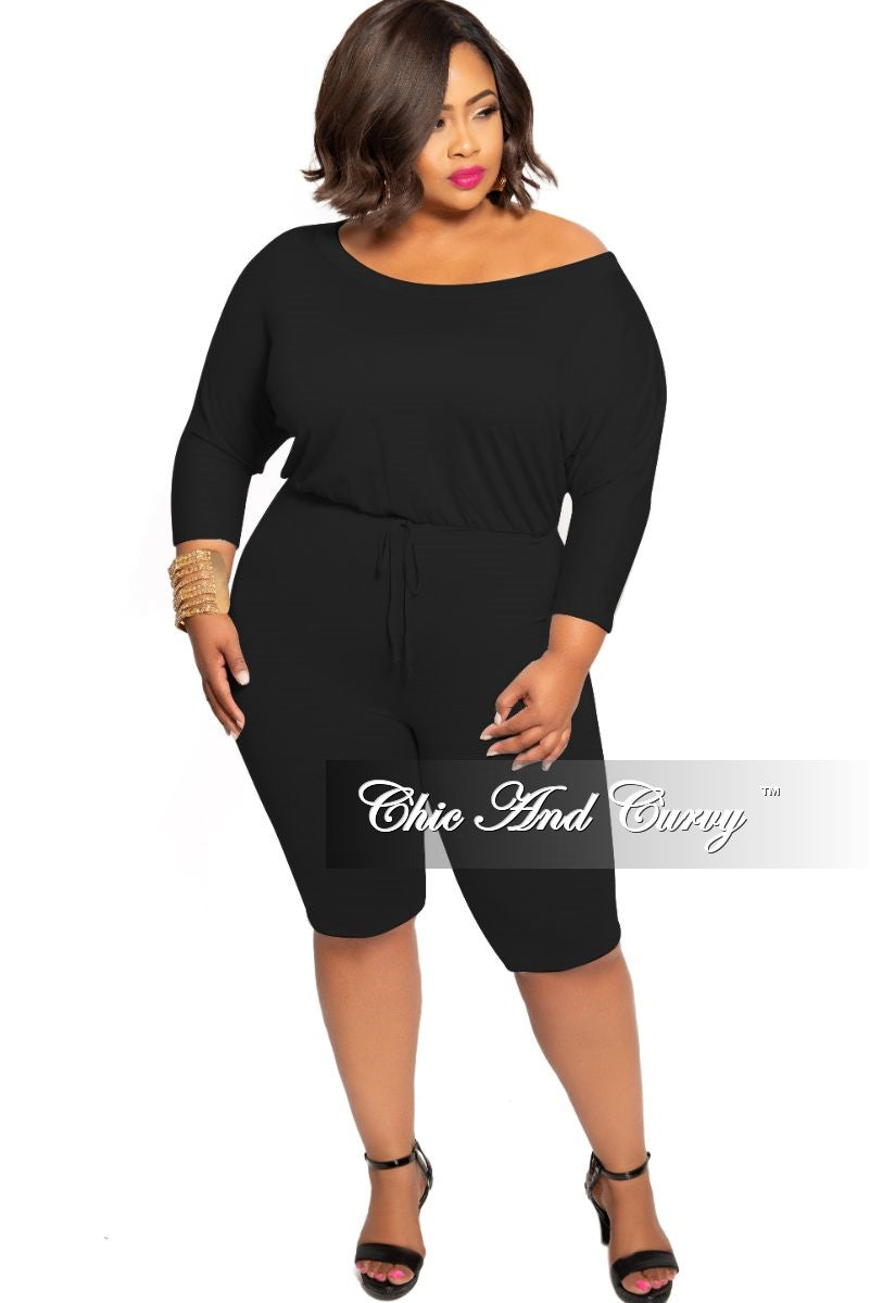 Final Sale Plus Size Off the Shoulder Romper with Drawstring in Black