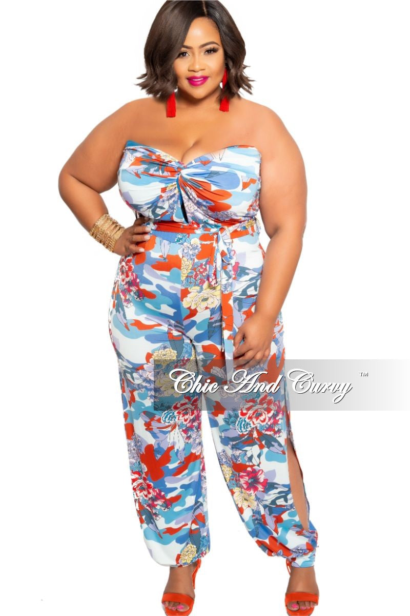 Final Sale Plus Size Strapless Jumpsuit with Attached Tie in Multi Color Floral Print