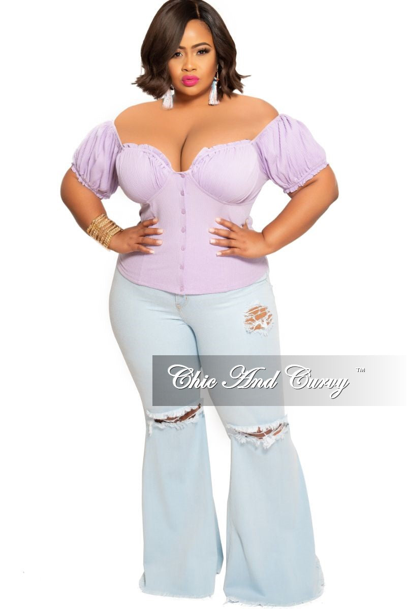 Final Sale Plus Size Wide Leg Denim Jeans with Distressed Thigh & Knee in Light Blue