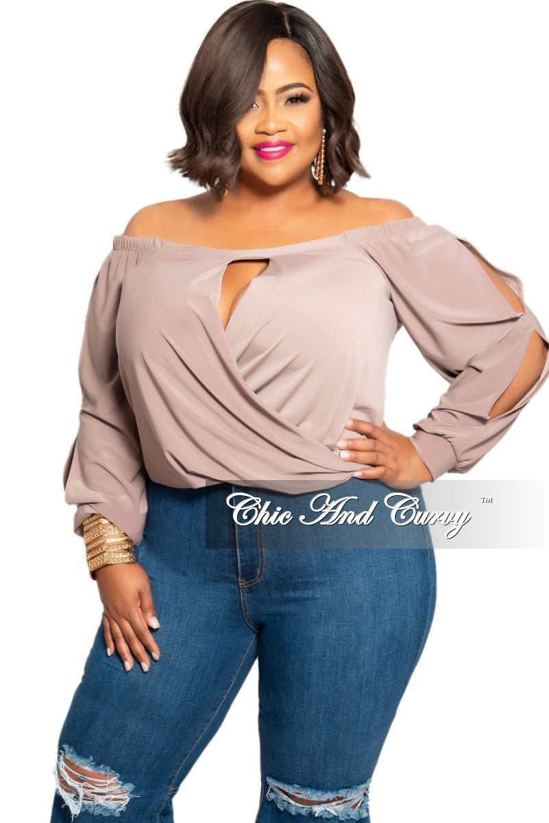 New Plus Size Off the Shoulder Keyhole Faux Wrap Top with Slit Sleeves in  Cappuccino