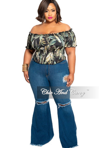 New Plus Size Denim Jeans with Fringe Bottoms