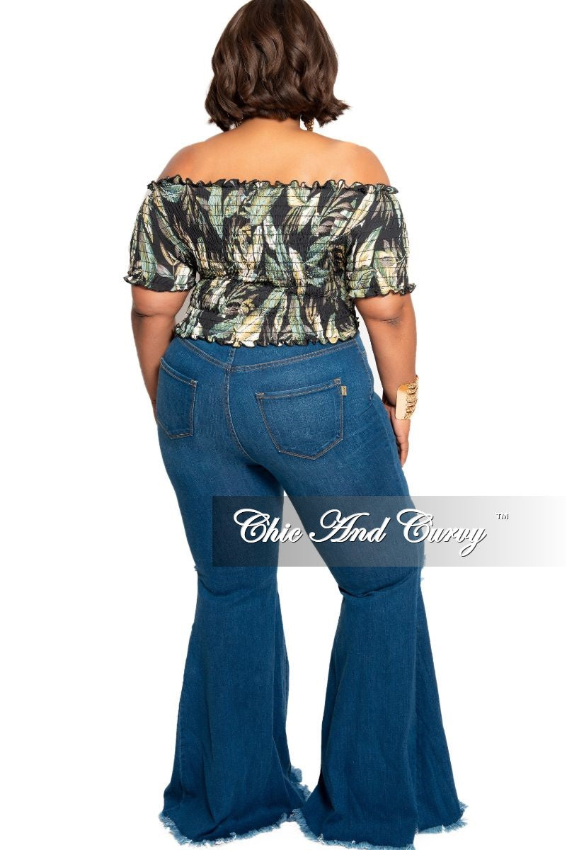 Final Sale Plus Size Wide Leg Denim Jeans with Distressed Thigh & Knee in Dark Blue